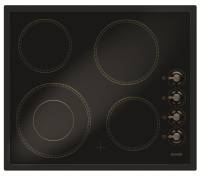 Gorenje ECK 63 CLB Glaskeramik-Kochfel d, B 60 cm, Zweikreis, Retro-Knebel, matt-schwarz