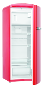 Gorenje ORB 153 RD A+++, B 60 cm , 4* Gefrierfach, IonAir Dynamic Cooling, FreshZone,TA rechts, fire red