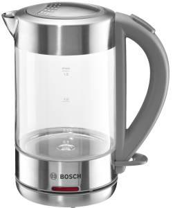 Bosch TWK 7090 Wasserkocher kabellos Glas Edelstahl/ hellgrau 1,5 l