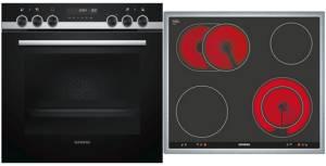 Siemens PQ 521 KA 00 Herd-Set EEK: A Pyrolyse cookControl30 Glaskeramik 60 cm Edelstahlrahmen