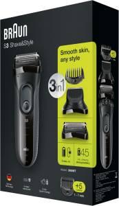 Braun 3000 BT Shave&Style Series 3 Barttrimmer-Set schwarz