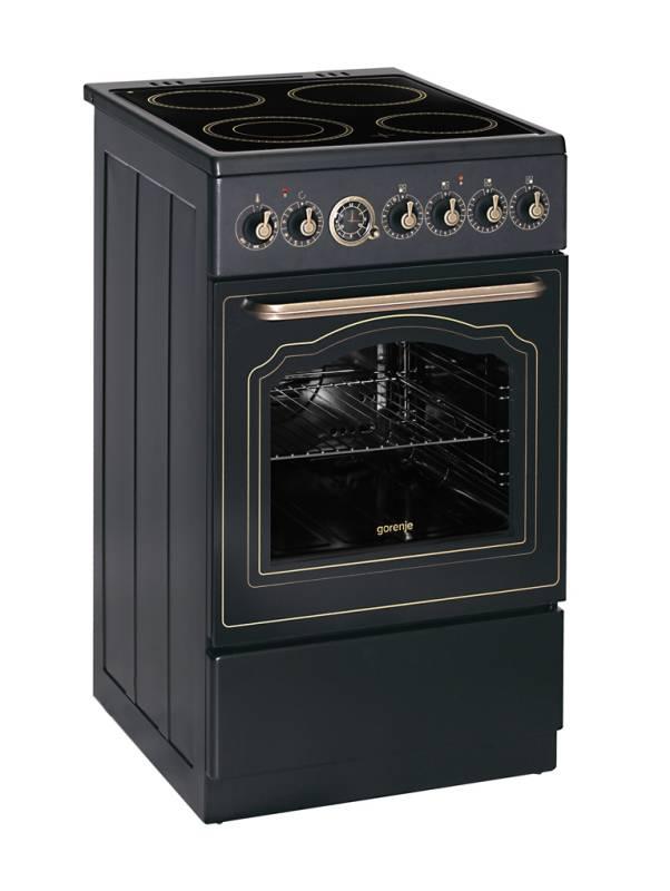 gorenje ec 55 clb1 standherd b 50 cm a 10 umluft grill glaskeramik kf matt schwarz kochen. Black Bedroom Furniture Sets. Home Design Ideas