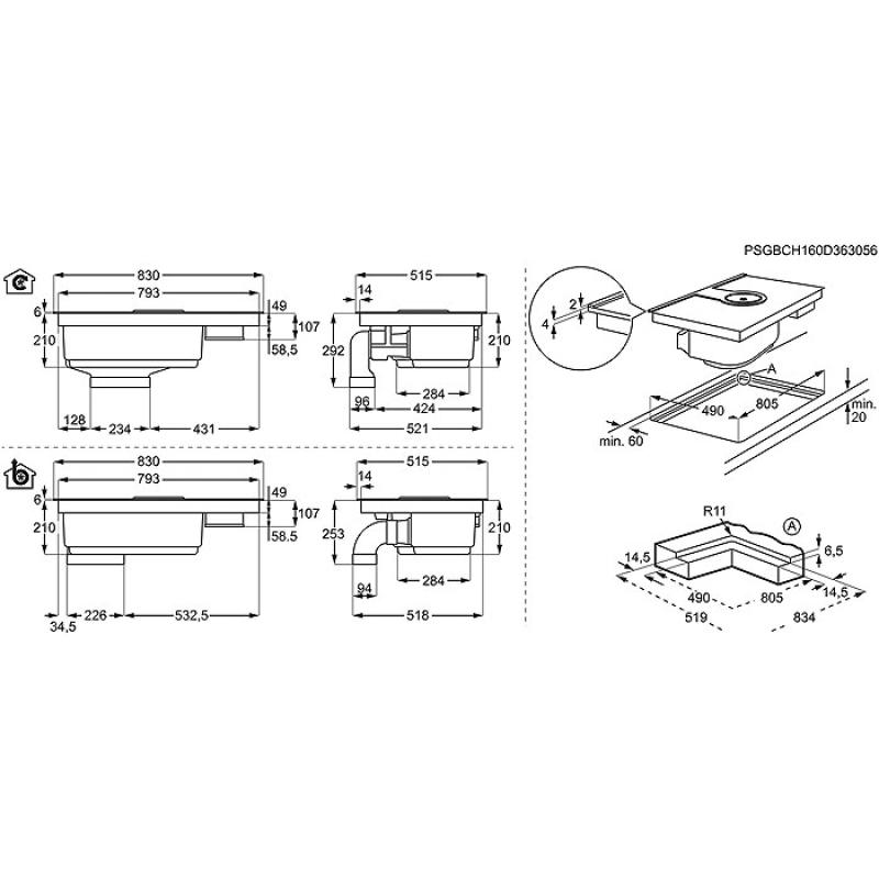 aeg ide 84241 ib combohob 2 in 1 kochfeld dunstabzug. Black Bedroom Furniture Sets. Home Design Ideas