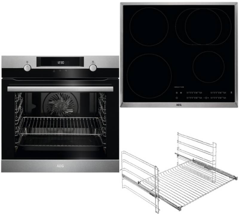 aeg bpb 434 1 backofen set a pyrolyse induktion 60 cm edelstahl einbauherd sets einbauherd sets. Black Bedroom Furniture Sets. Home Design Ideas