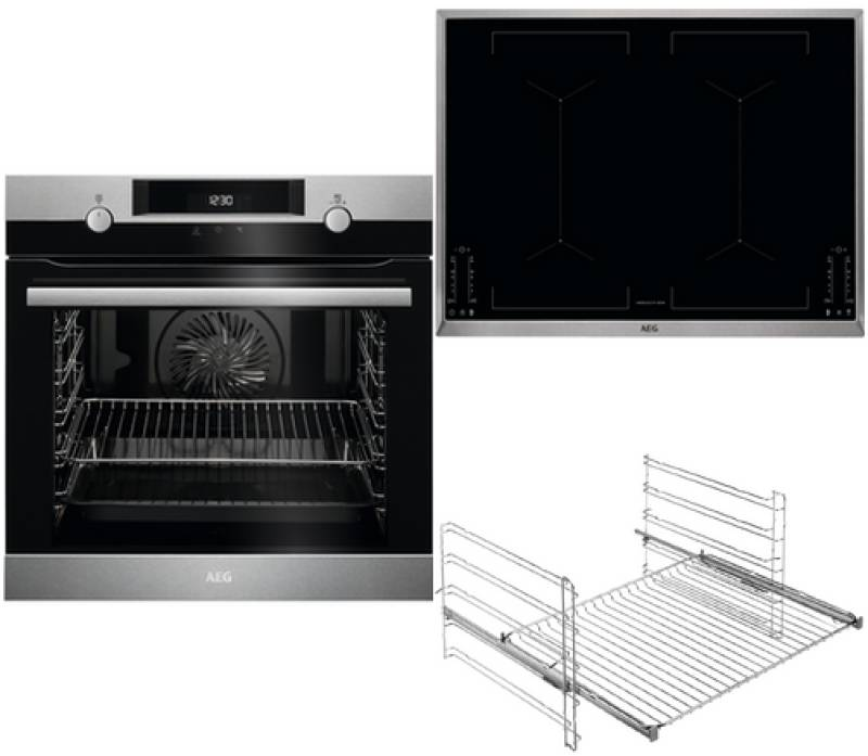 aeg bpb 435 1 backofen set a pyrolyse induktion 68 cm edelstahl einbauherd sets einbauherd sets. Black Bedroom Furniture Sets. Home Design Ideas