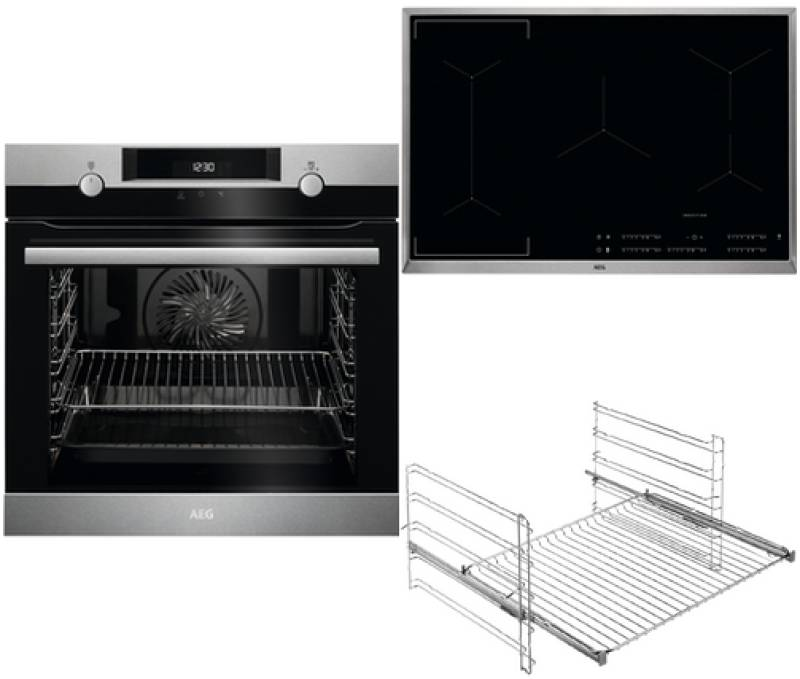 aeg bpb 437 1 backofen set a pyrolyse induktion 80 cm. Black Bedroom Furniture Sets. Home Design Ideas