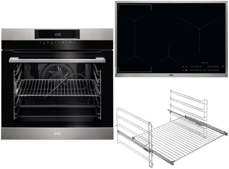 aeg bpk 746 1 backofen set a pyrolyse kerntemperatursensor induktion 80 cm edelstahl einbauherd. Black Bedroom Furniture Sets. Home Design Ideas