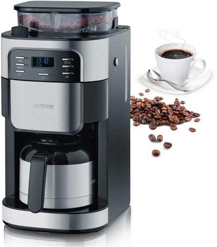 severin ka 4812 mit mahlwerk edelstahl thermokanne kaffee tee espresso kaffeemaschinen. Black Bedroom Furniture Sets. Home Design Ideas